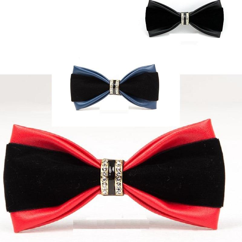 slap-up bow tie men fashion PU diamond bowtie wedding party business butterfly for men dinner neckwear 20pcs/lot