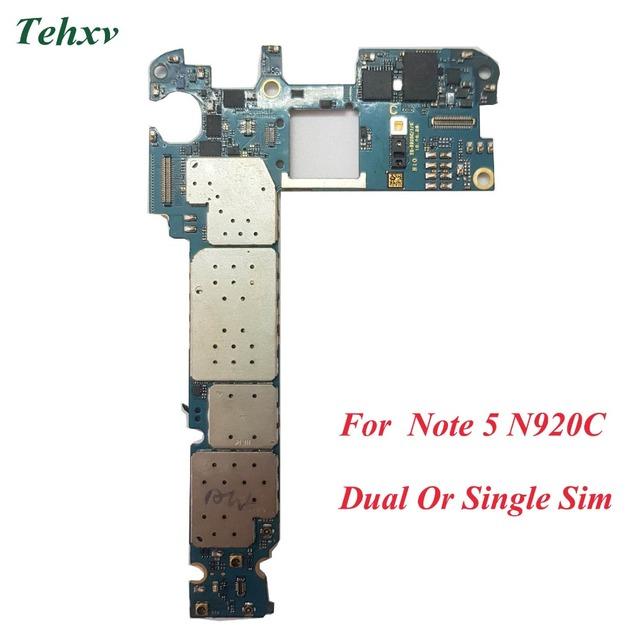 US $49 29 7% OFF|Tehxv 100% Original Unlocked Replacement for Samsung  Galaxy Note 5 N920C Motherboard Android 7,Dual Single Sim -in Mobile Phone