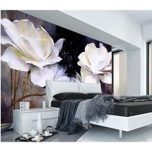 HD белые розы 3D фотообои по индивидуальному заказу Европейский стиль настенная роспись домашний Декор цветы обои для гостиной постельные принадлежности комната 385
