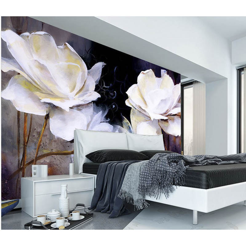 HD white roses 3D Customized Photo Wallpaper European style Wall Mural Home Decor Flowers Wall paper For Living Bedding Room 385