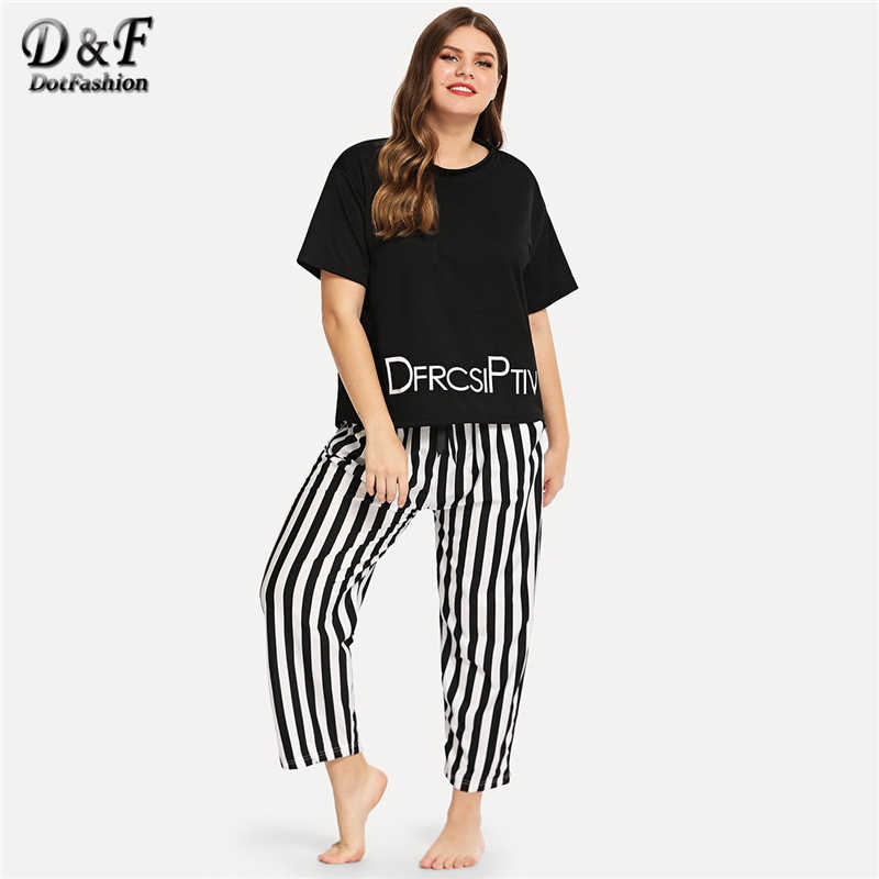 Dotfashion Plus Size Letter Print Striped Pajama Set 2019 Casual Black And  White Pajamas For Women 3086fd6e0