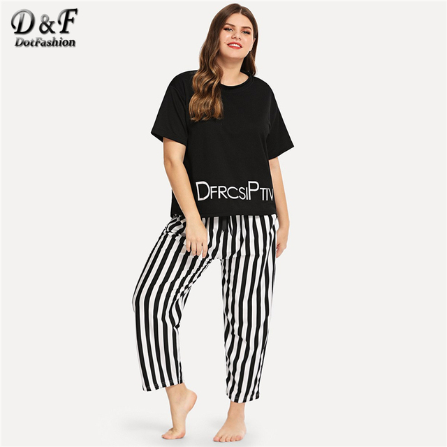 2c22317a712 Dotfashion Plus Size Letter Print Striped Pajama Set 2019 Casual Black And  White Pajamas For Women