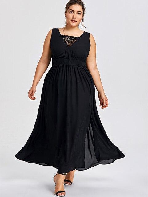42a838e58718a6 Gamiss Women Plus Size 5XL Sleeveless High Slit Lace Trim Maxi Dress Female  Casual Party A-Line Flowy Dress Vestidos De Fiesta