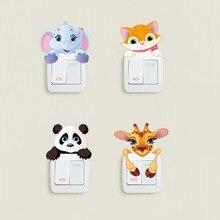 Cute Animals Elephant Cat Panda Giraffe Light Switch Sticker Remoable Wall For Kids Baby Nursery Home Decal Murla Decor