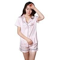 Summer silk satins sexy short sleeves shorts pajamas sets women elegant pure color sleepwear sleep indoor pyjamas for women