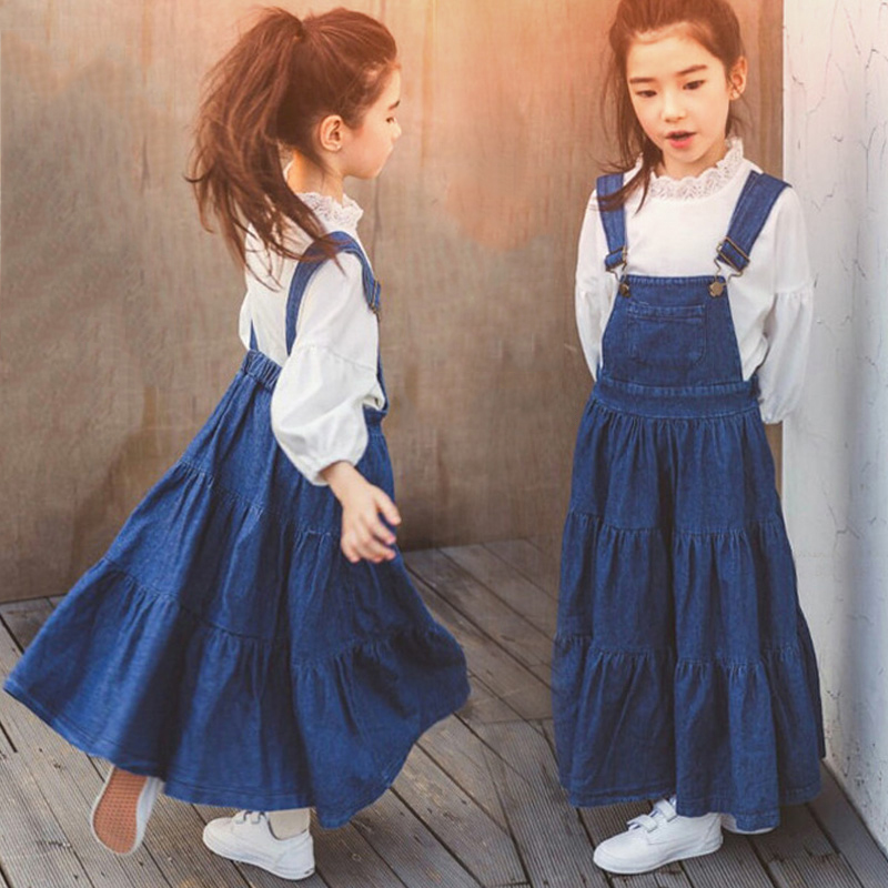 Denim Overalls for Baby Girls Jeans Dress Ruffle Long Design Korean Style Teens Clothes for Age 45678910 11 12 13 14 Years Old 2017 autumn girls blouse ruffle hem flare sleeves blue striped letter design for teens at age 56789 10 11 12 13 14t years old