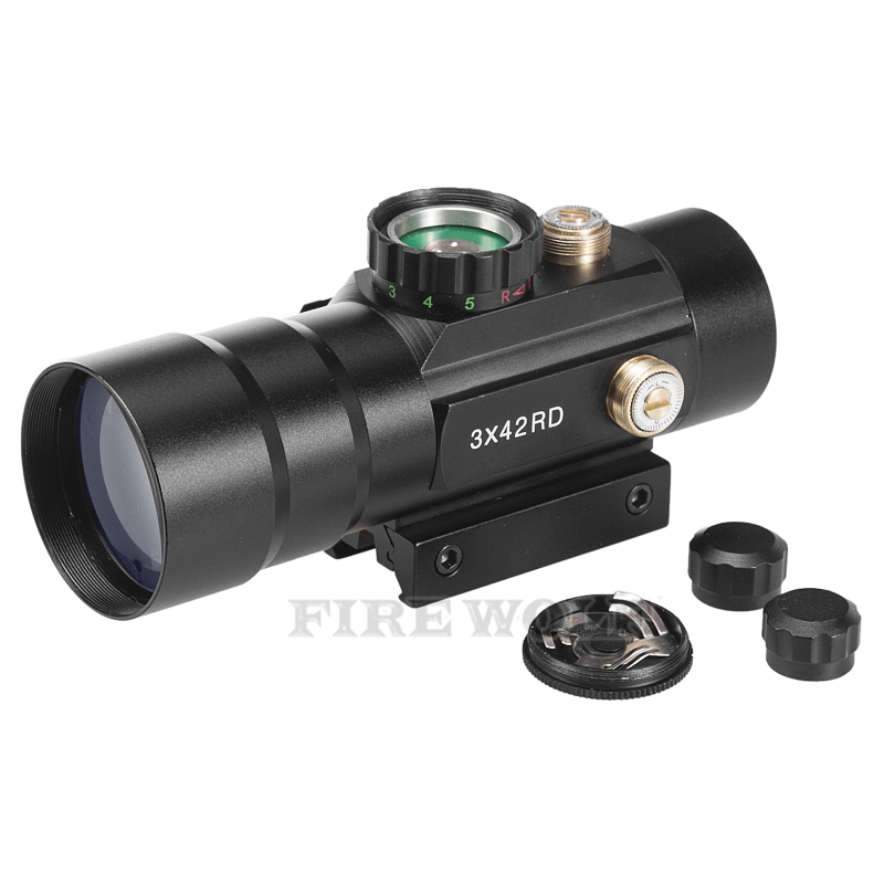 3x42 Red Green Cross Airsoft Rifle Scope Sight With 20mm And 11mm Tri Picatinny Rail For Hunting Riflescope Telescope Binoculars