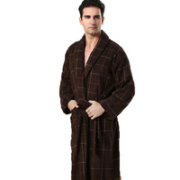 MXS Robes For Men Geometric Dressing Gown Men Solid Color Full Sleeve Terry Cotton Sleep Lounge
