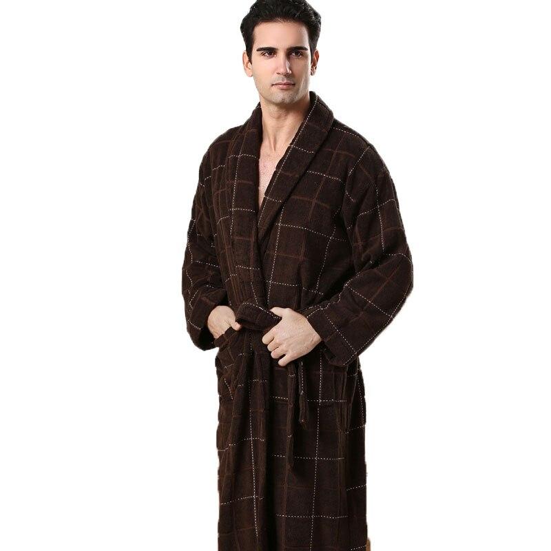 MXS Robes Pour Hommes Géométrique Robe de Chambre Hommes Solide Couleur Pleine Manches Terry Coton Sommeil Salon Robes Sexy Peignoir mâle de Robe