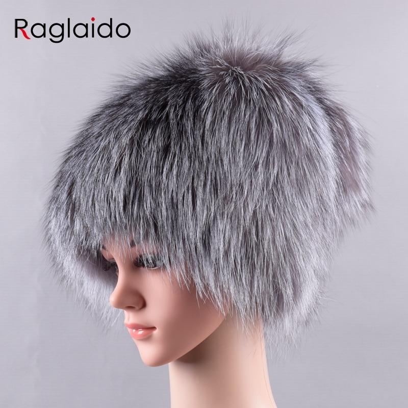 Raglaido Furry Winter hats for women real fox fur hats with tail pompom cap skullies snow beanies Genuine fur natural capLQ11225