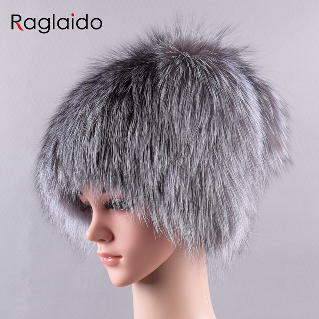 Raglaido Furry Winter hats for women real fox fur hats with tail pompom cap  skullies snow 5e9d4d81774