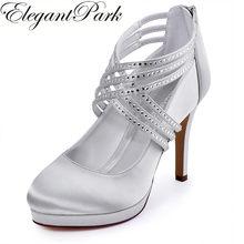 9e9dd30c4b2c Woman Shoes High Heel Silver White Ivory Rhinestone Zip Cross Strap  Platform Satin Bride Bridesmaid Wedding Bridal Pumps EP11085