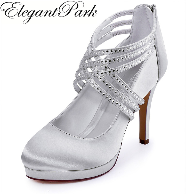 Woman Shoes High Heel Silver White Ivory Rhinestone Zip Cross Strap Platform Satin Bride Bridesmaid Wedding Bridal Pumps EP11085 collared zip front vest in ivory white