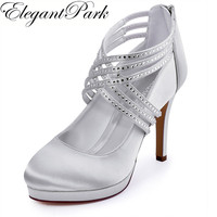 Woman Shoes High Heel Silver White Ivory Rhinestone Zip Cross Strap Platform Satin Bride Bridesmaid Wedding Bridal Pumps EP11085