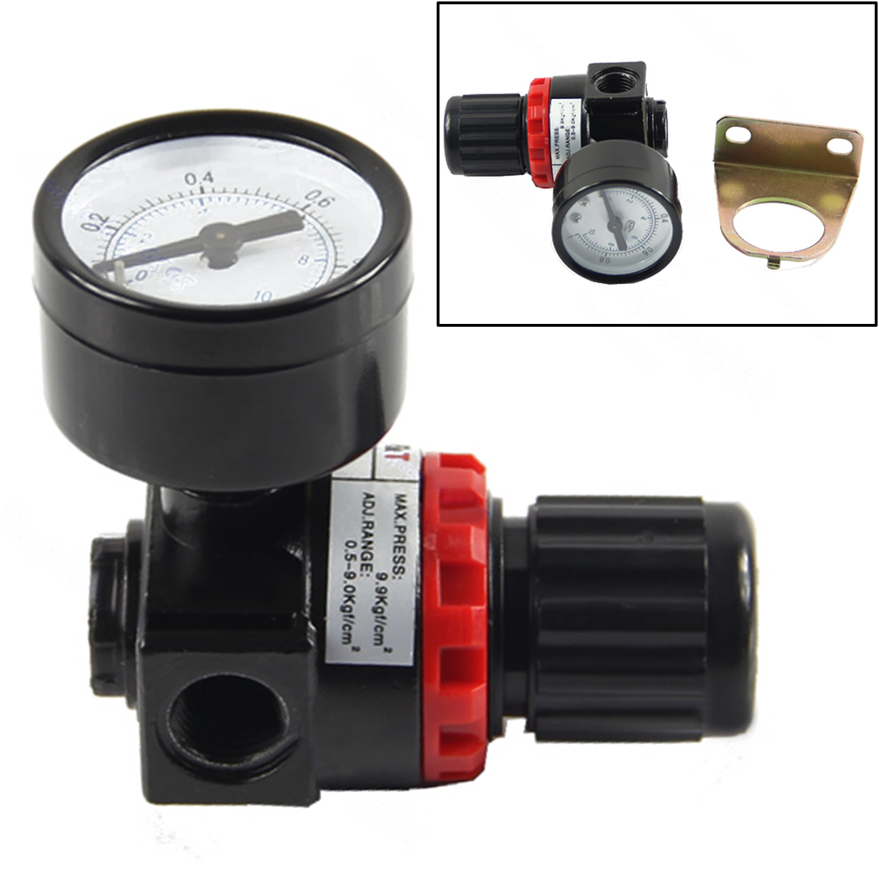 1pc Air Control Compressor Relief Regulator Pressure Regulating Valve AR2000 75x40x40mm compressor air control pressure gauge relief regulating regulator valve with 6mm hose fittings