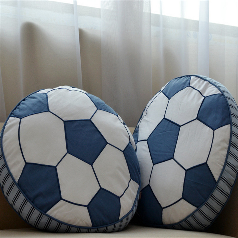Round Foodball Pattern Cotton Cushion Boy Toy Pillow Car Home Sofa With Core Waist Children Bedroom Decoration