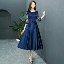 Темно-синее женское кружевное вечернее платье с круглым вырезом, роскошное тонкое Свадебное бальное платье, модное сексуальное длинное платье Cheongsam, одежда Vestido