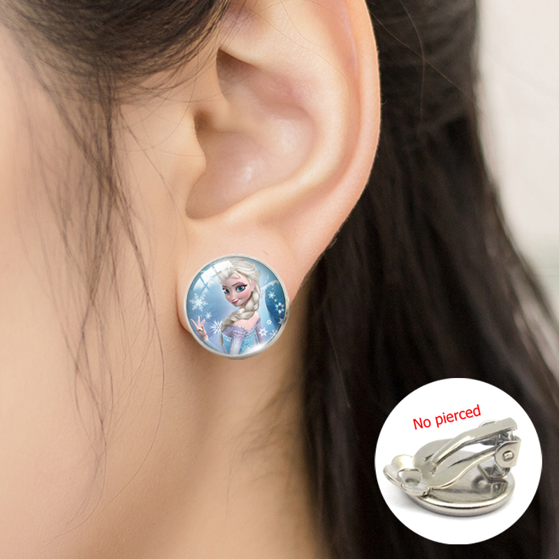 Fashion Fairy Tale Lovely Princess Glass Cabochon Clip Earrings Princess Anime Jewelry No Pierced Clip Earrings