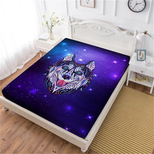 Colorful Animal Print Bed Sheet Husky Dog Printed Fitted Sheet White Purple Galaxy Soft Bedclothes King