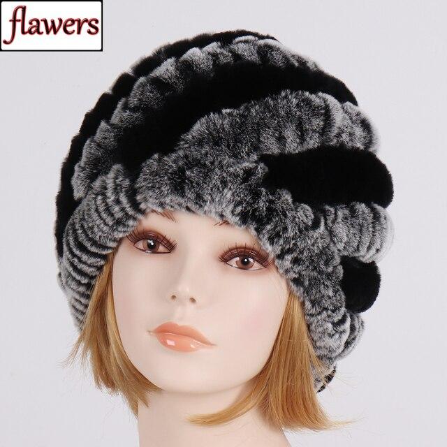 ליידי חורף 100% טבעי אמיתי רקס ארנב פרווה כובע נשים רך רקס ארנב פרווה כובע חם סרוג אמיתי פרווה Skullies בימס כובעים