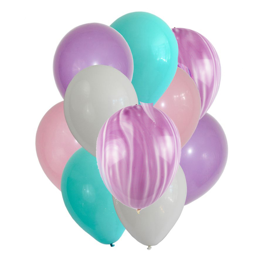 10Pcs Purple Marble Balloons Bouquet Purple White Confetti Balloon for Party Baby Boy Girl Birthday Wedding Party Decoration