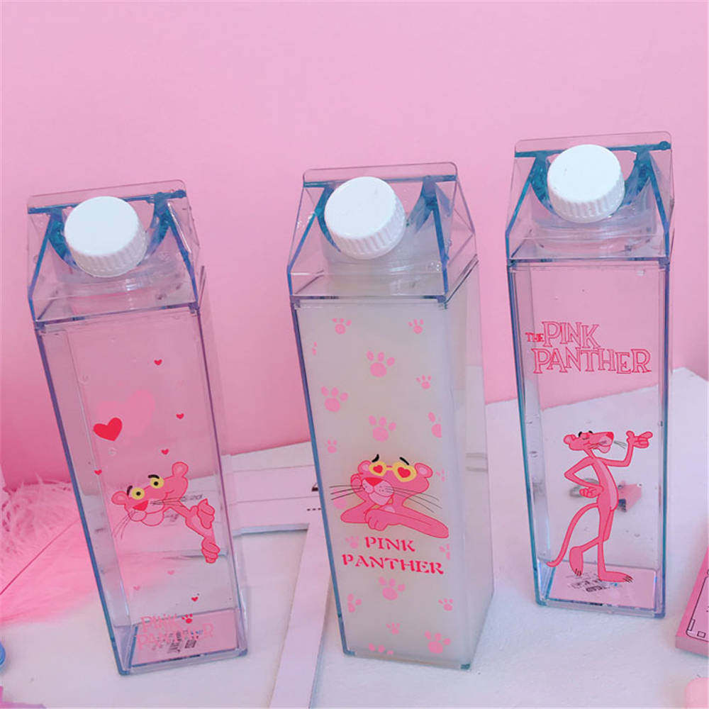 Unique Mini Cute Water bottles Milk Box Shape Transparent Plastic Cartoon  pink panther Drink Bottle Coffee Beer Drinkware