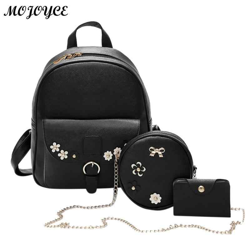 3 Pcs/Set Women Backpack Bowknot PU Leather Backpacks Chain Casual Shoulder Card Students School Bags New Arrival Girls Rucksack