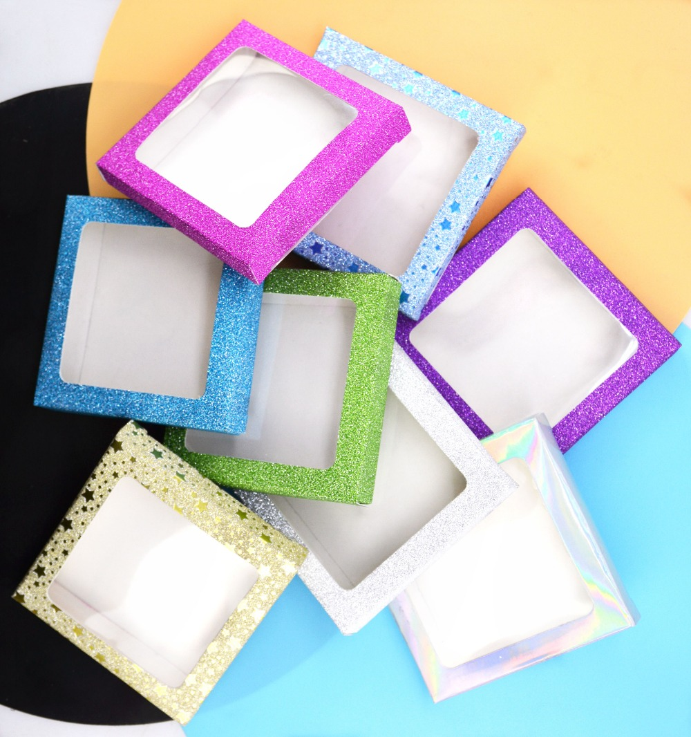 10set/lot Packing Box For Eyelash Blank Eyelashes Package Multicolor Paper Box White Tray 25mm Eyelashes DIY Shining Packing Box