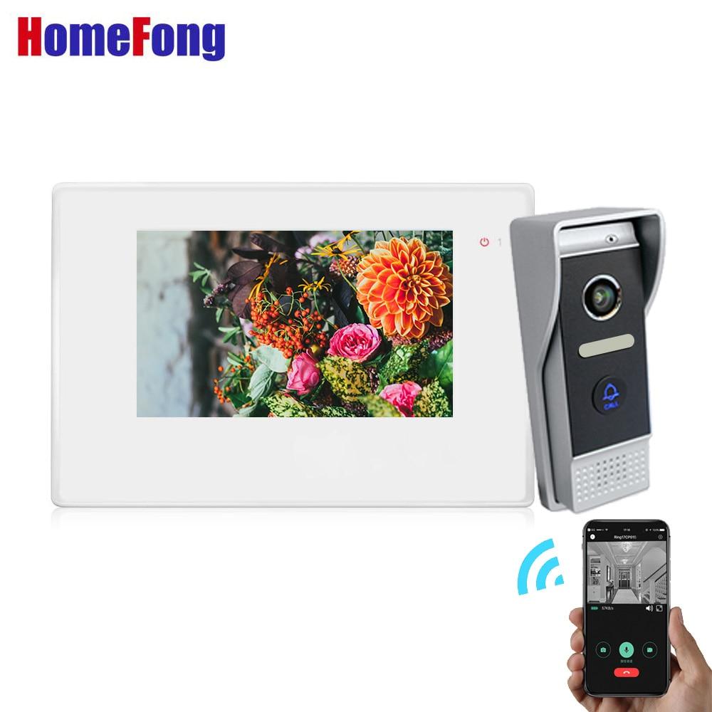 Homefong Wifi vidéo interphone vidéo porte téléphone sonnette système déverrouiller blanc IP interphone sans fil sonnette caméra jour nuit