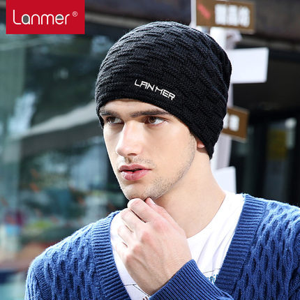 2017 New Top Fashion Solid Adult Casual Men Wool Lanmer Male Winter Hat Knitted Hiphop Cap Fashion 1107h