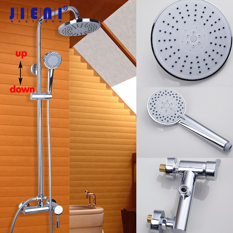 Wall Mount Rain Shower System 8 inch Round Shower Head Hand Shower Faucet Mixer Tap Set Black Polish Chrome цены