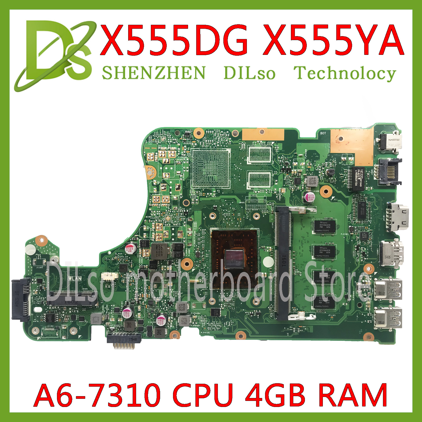 KEFU X555DG Motherboard For ASUS X555YI X555YA X555D A555DG X555QG X555Y Laptop Motherboard A6-7310 4GB REV2.0 Test Work 100%