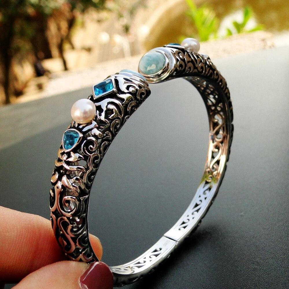 Тонкой Для женщин Jewelry высокое качество натуральный браслет из ларимара хороший браслет с ларимаром 100% 925 пробы Серебряный браслет Открыть ...