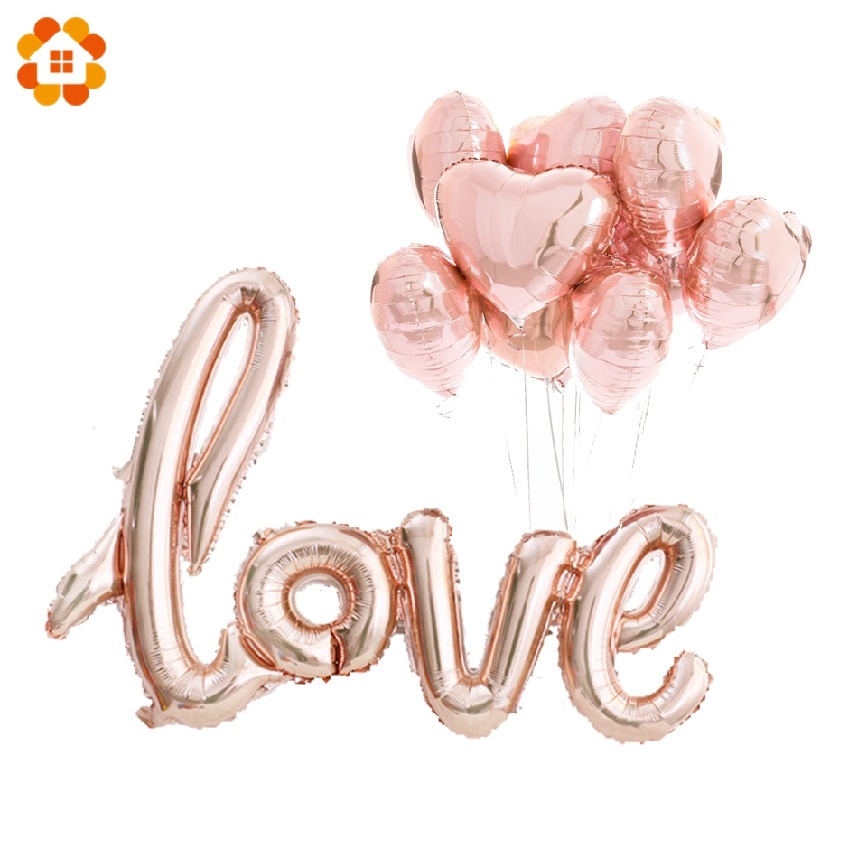 6PCS Love Balloons Champagne&Pink Heart Foil Balloon DIY Home Birthday Party Decorations Wedding Party Supplies Wedding Balloons