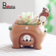 Roogo roztomilý kreslený nový tvar zvíře tvar zahradyupplies dekorativní váza a sukulentní kvetináč květináče dárkový obchod 3255100