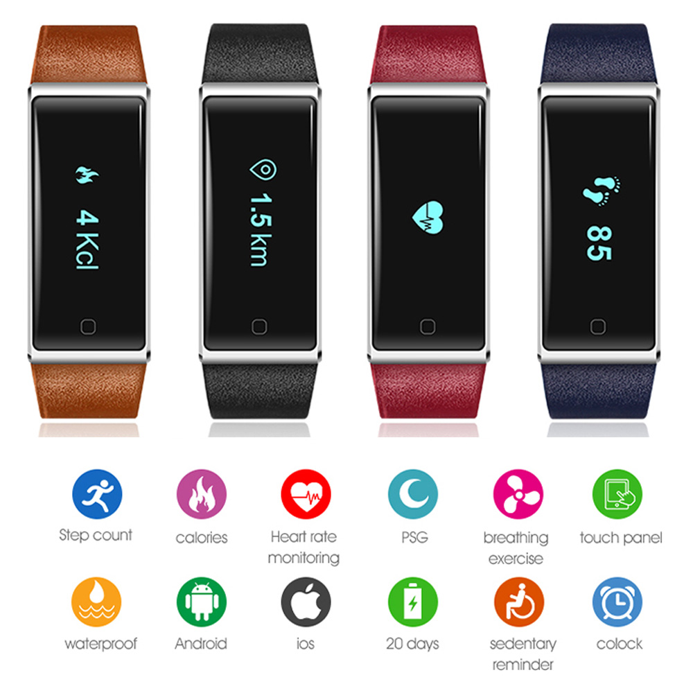 2017 New Arrival Heart Rate Tracker Band Healthy Sports Smart Bracelet Wristband QS60 for Iphone Xiaomi