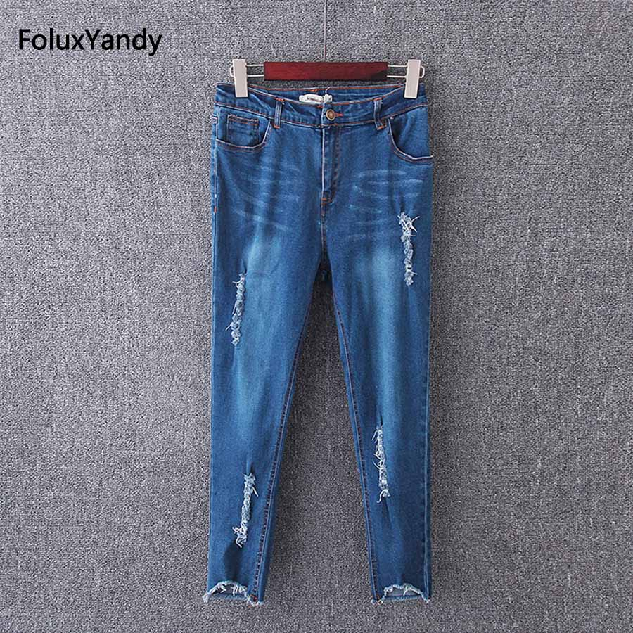 Ripped Denim Pencil Pants Women Plus Size 3 4 5 XL Casual Ankle-length Slim Stretched Denim Jeans Trousers KK3532 ripped denim jeans women plus size 3 4 xl elastic casual pencil pants trousers blue kkfy330
