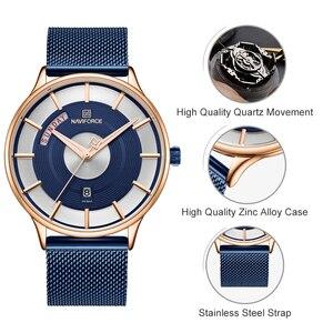 Image 2 - NAVIFORCE montre à Quartz pour hommes, montre bracelet, étanche, maille en acier inoxydable, sport, horloge, Date