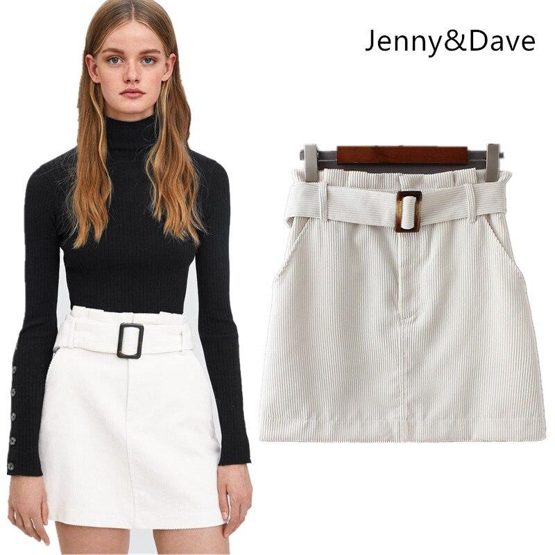 Jenny y Dave 2018 BTS falda mujeres falda de Inglaterra estilo sólido de  pana fajas por d272348f44d03