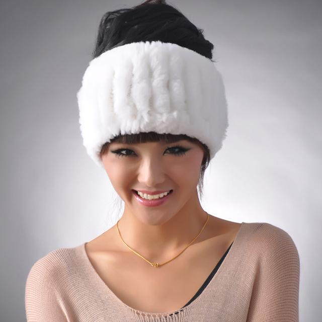 YCFUR Cabeça Pele Real Mulheres Handmade Genuine Malha Rex Rabbit Fur Headbands Meninas Lenços Anel Inverno Pele Natural para inverno