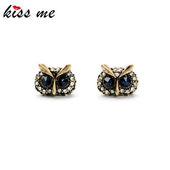 KISS ME 2017 Statement Trendy Jewelry Elegant Antique Gold Color Owl Stud Earrings for Women Factory Wholesale image