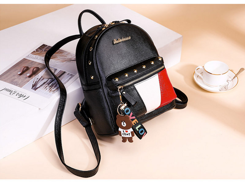 2019 Women Preppy Style Panelled Color Print Backpack Black Studded PU Faux Leather School Bag Small Fashion Rivet Travel Pack (29)