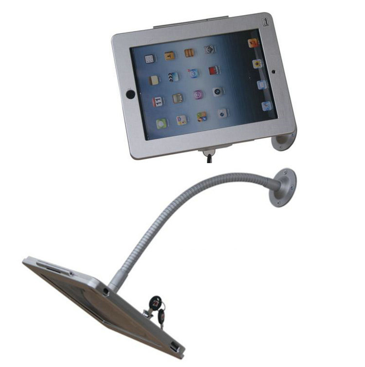 buy tablet wall mount security display stand holder lock metal case rack protect for ipad 234air with lock and adjustable tuble from