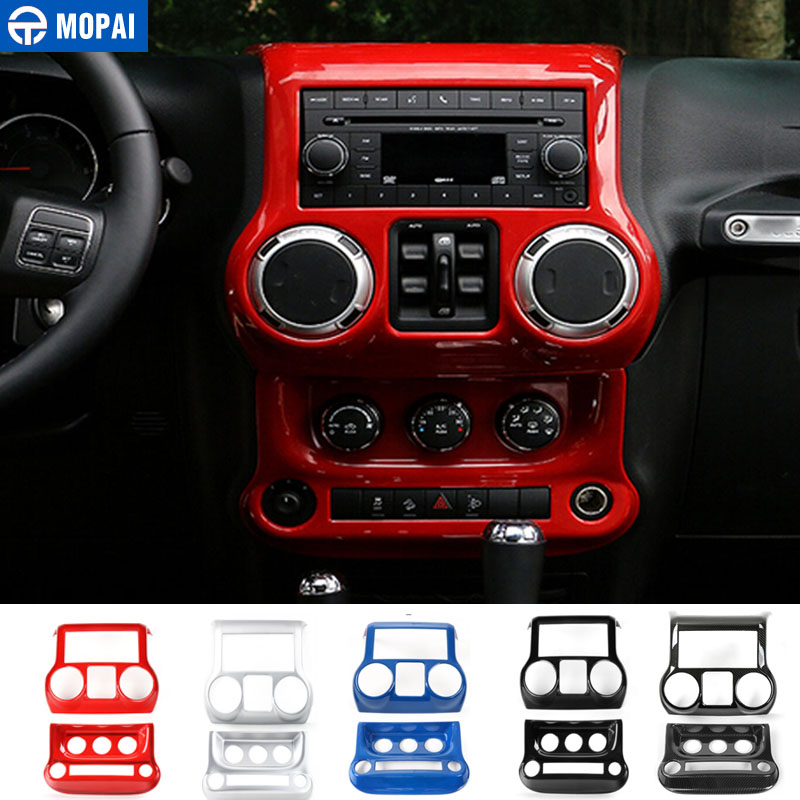 MOPAI ABS Car Center Console Dashboard Air Conditioner Switch Decoration Gear Panel Cover Sticker for Jeep