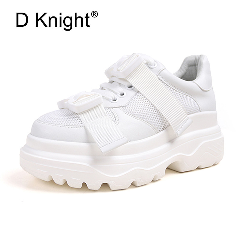 Platform Shoes Women Spring Autumn New Arrival Designer Sneakers White Black Fashion Casual Creepers Ladies Flats Harajuku Shoes цена