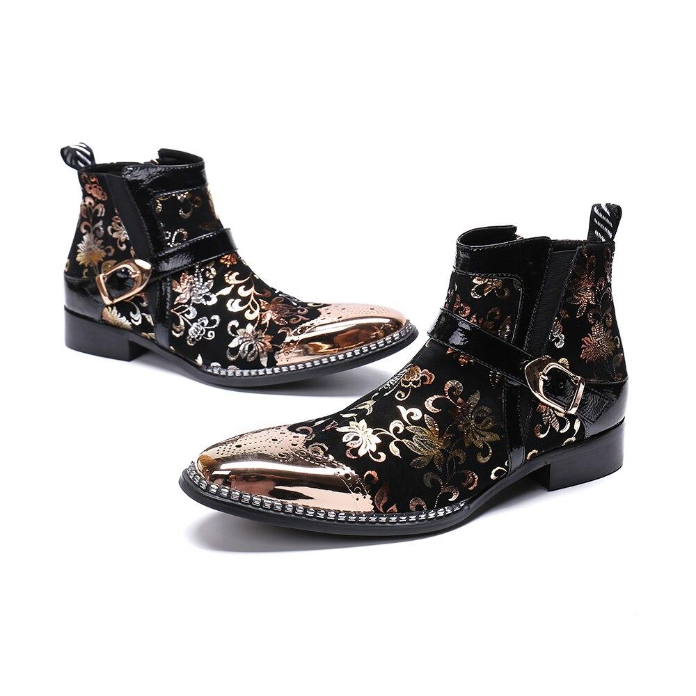 Sapatos Boots Luxo Festa Preto Couro Botas Christia Impressão De Bella Plus Casamento Bullock Ankle Ouro Vestido Homens Genuíno Size Fivela q0wwOU4