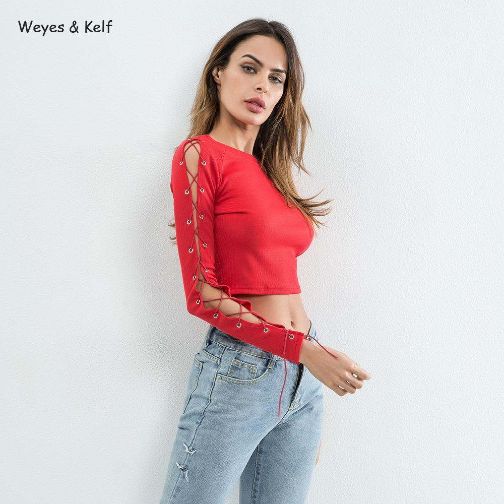 557144dd Weyes & Kelf Hollow Long Sleeve short Sexy Crop Top 2018 Bandage Sleeve  Solid Black T shirt Female Flim Red Shirt Female Tees-in T-Shirts from  Women's ...
