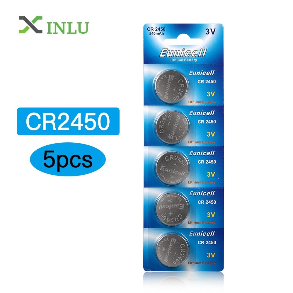 5pcs/lot CR2450 2450 ECR2450 KCR2450 5029LC LM2450 Button Cell Coin Battery 3V Lithium Watch Battery, XINLU Battery