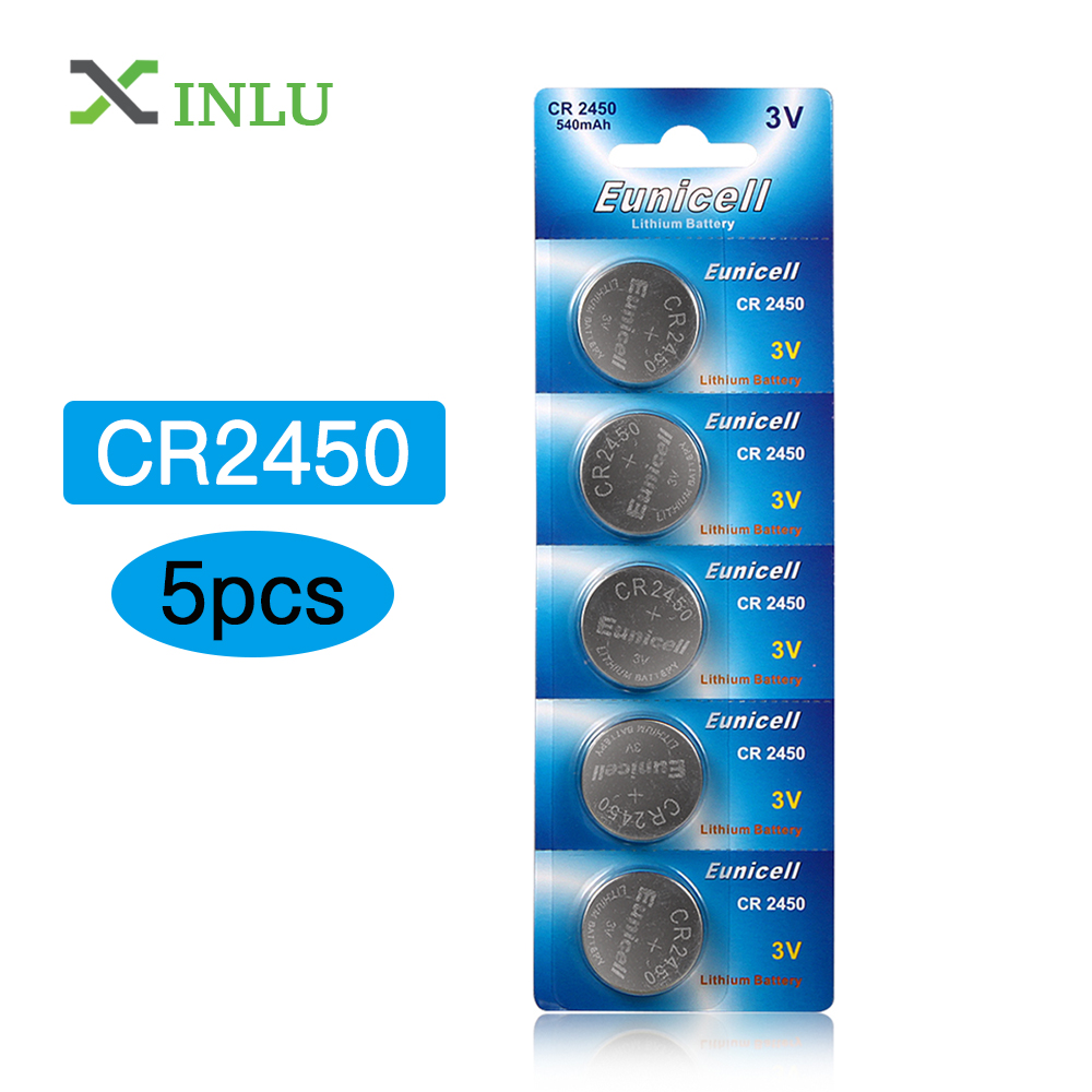 5pcs/lot CR2450 CR 2450 Battery 3V Cell Button Coin Battery ECR2450 KCR2450 5029LC LM2450 2450 Lithium Battery For Watch Toys