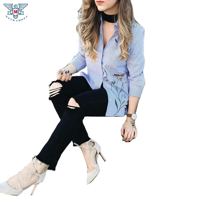 Cute ZA Striped Flower Print Embroidery Turn-down Collar Blouse Trendy Women 3/4 Sleeve Pocket Casual HI-LO Side Split Shirt Top